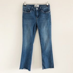Free People Stretch Frayed Hem Blue Crop Jeans 26